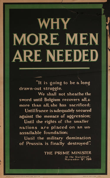 Why More Men are Needed, Original British WWI Recruiting Poster