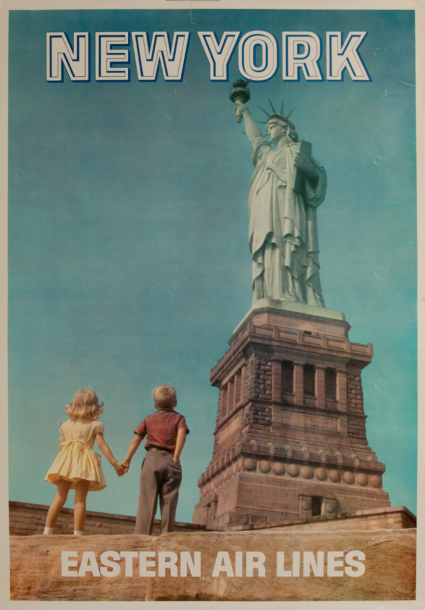 Eastern Air Lines, New York Original Travel Poster, Statue of Liberty