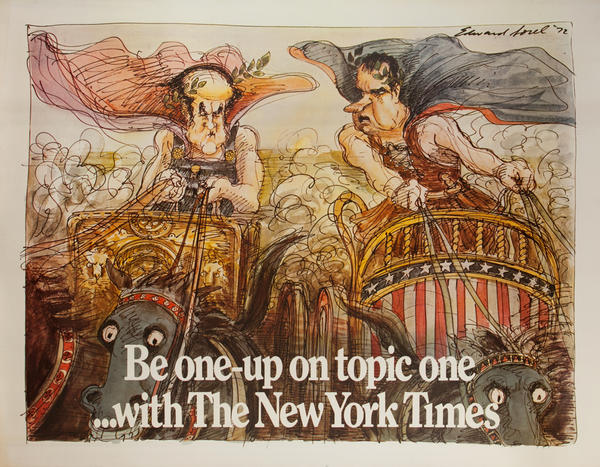 Be one-up on topic one ... With The New York Times, Original Advertising Poster, Chariot