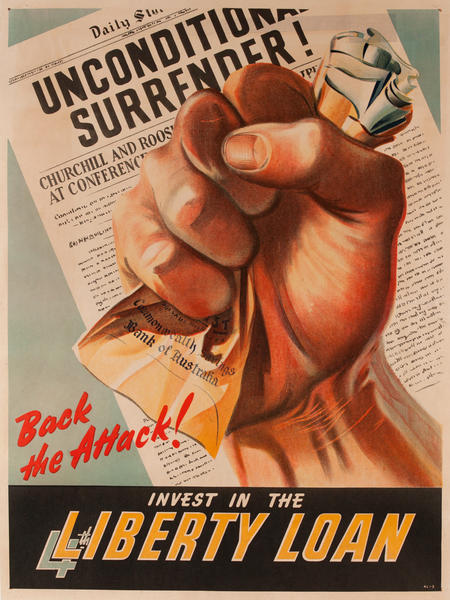 Back the Attack Invest in the 4th Liberty Loan, Original WWII Australian Bond Poster