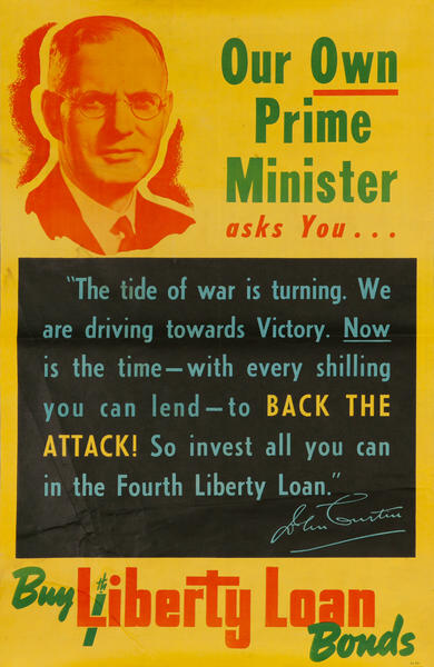 Our Own Prime Minister Asks You...Buy 4th Liberty Loan, Original WWII Australian Poster