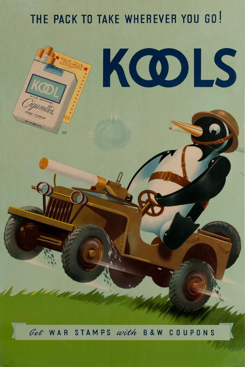 The Pack to Take Wherever You Go! Kools, Get War Stamps with B&W Coupons, Original WWII Poster