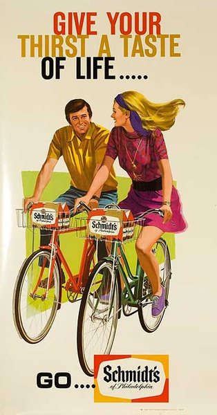 Original Vintage Schmidts Beer Poster Sixties Bicycle Couple