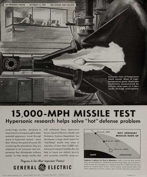 15,000 MPH Test Missile, Original Korean War Era General Electric Promotional Poster
