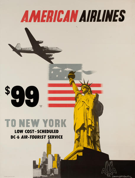 American Airlines $99 to New York, Low Cost - Scheduled DC -6 Air-Tourist Service, Original Travel Poster