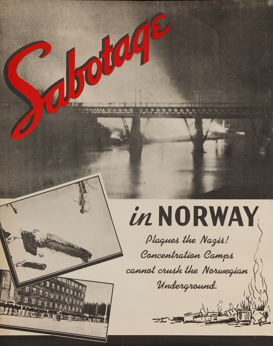 Sabotage in Norway Plagues the Nazis, Original WWII Poster