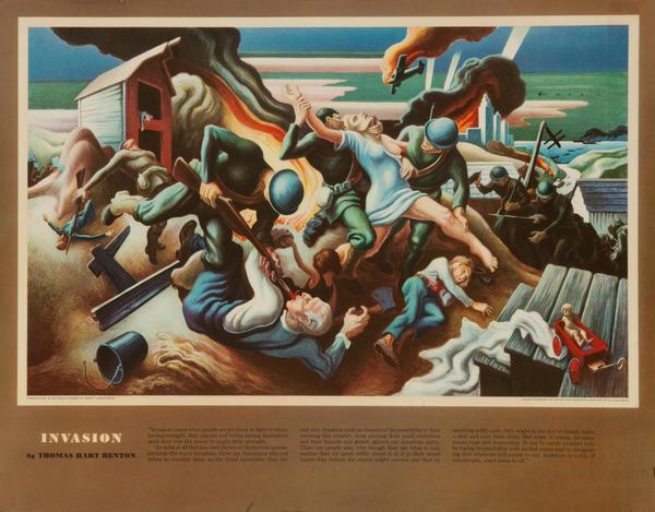 Invasion, Original Thomas Hart Benton WWII Poster