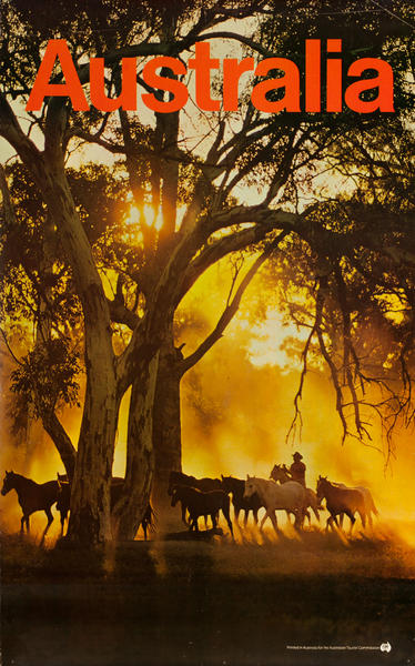 Cowboy at Sunset, Original Australian Tourist Commission Travel Poster