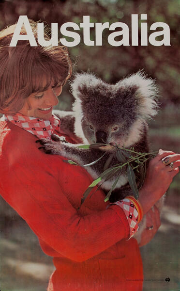 Woman with Koala, Original Australian Tourist Commission Travel Poster