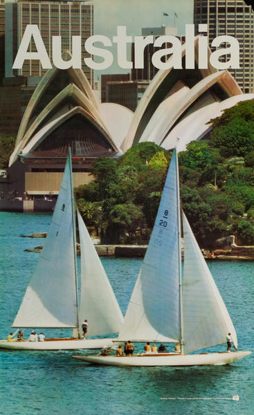 Sailboats in front of Sydney Opera House, Original Australian Tourist Commission Travel Poster