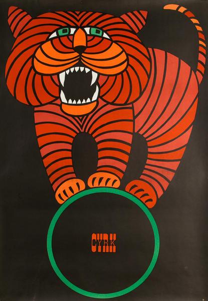 Cyrk Original Polish Circus Poster, balancing tiger