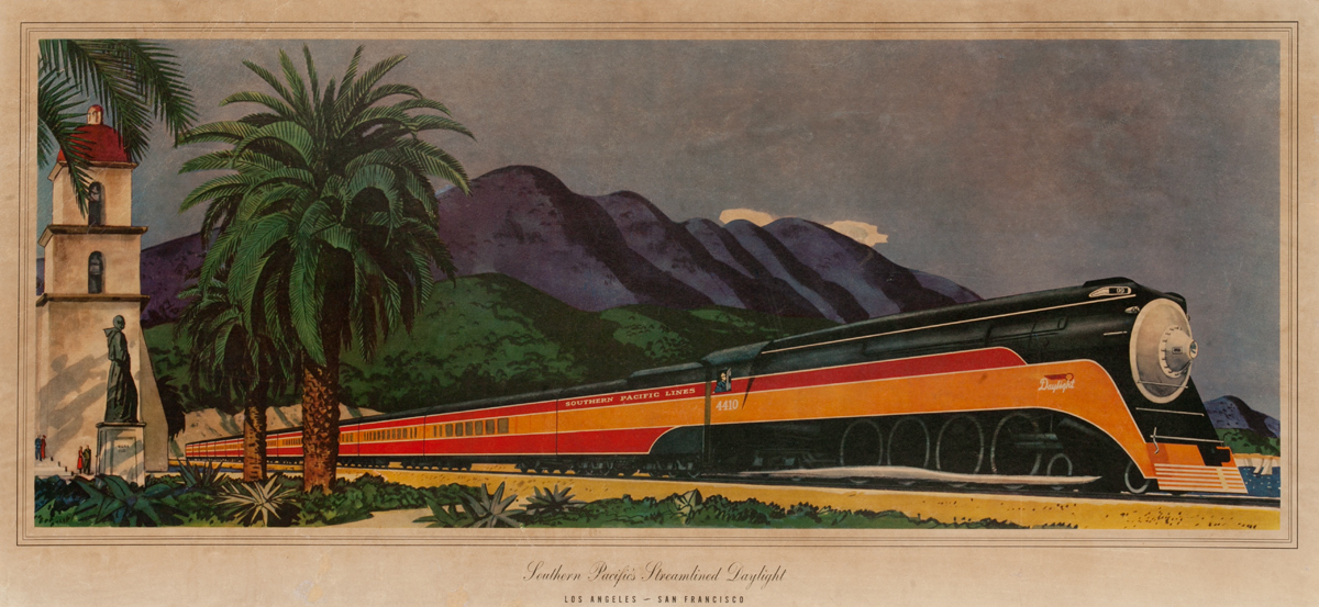 Southern Pacific's Streamlined Daylight, Los Angeles - San Francisco, Original Travel Poster