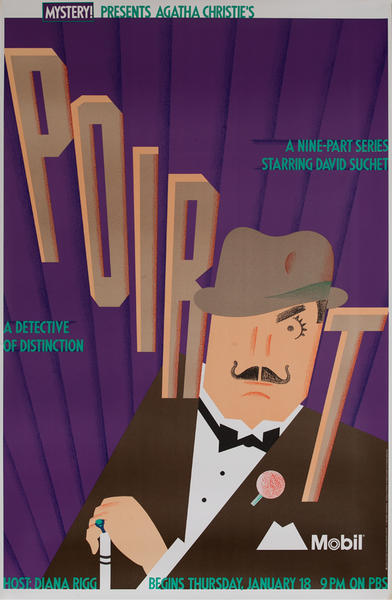 Mobil Mystery Presents - Agatha Christie's Poirot, Original Advertising Poster