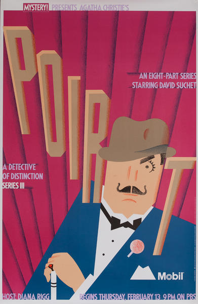 Mobil Mystery Presents - Agatha Christie's Poirot Series III, Original Advertising Poster