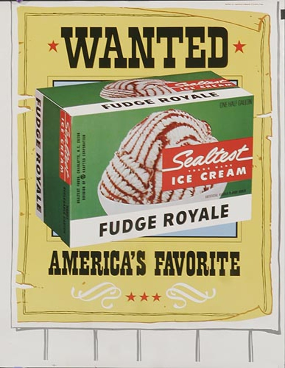 Sealtest Ice Cream Wanted Original Advertising Poster
