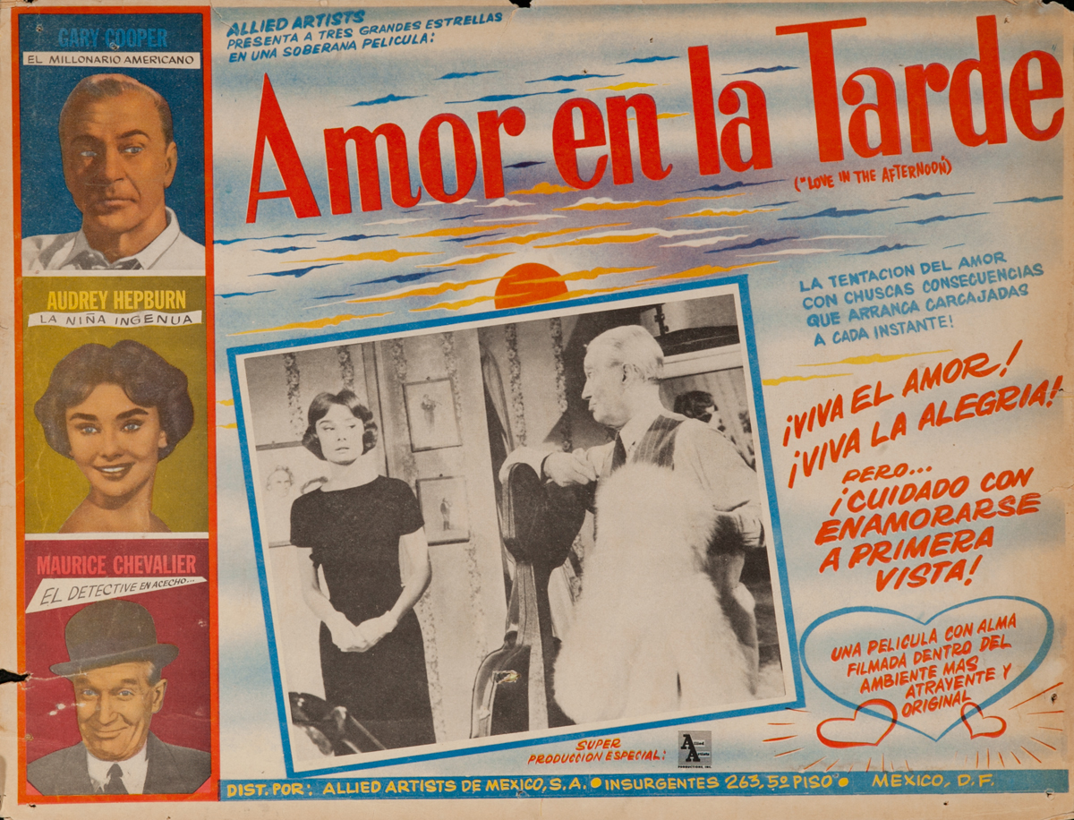 Amor en el Tarde, Love in the Afternoon, Original Mexican Lobby Card