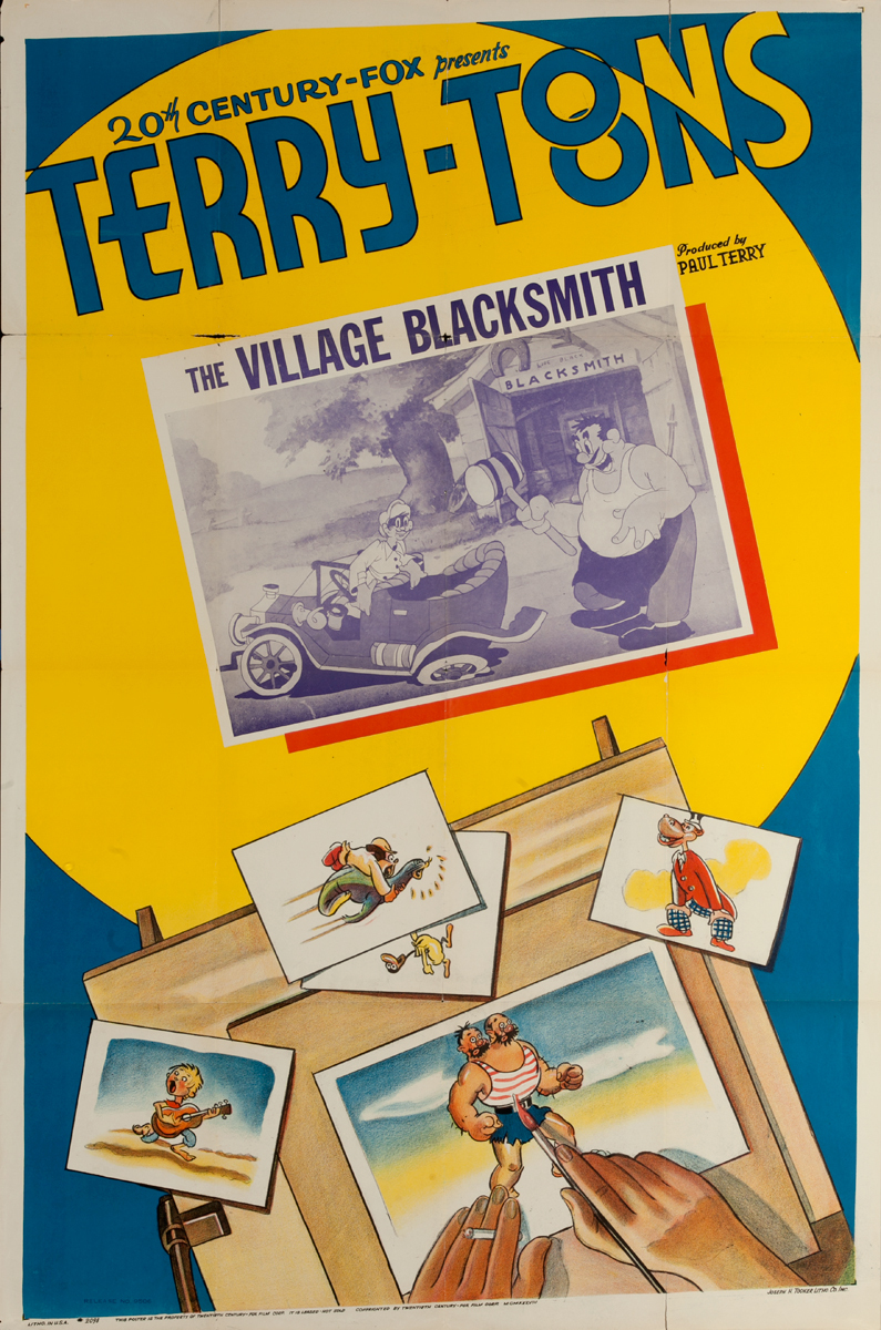 20th Century Fox Terry Toons, The Village Blacksmith Original American 1 Sheet Stock Movie Poster