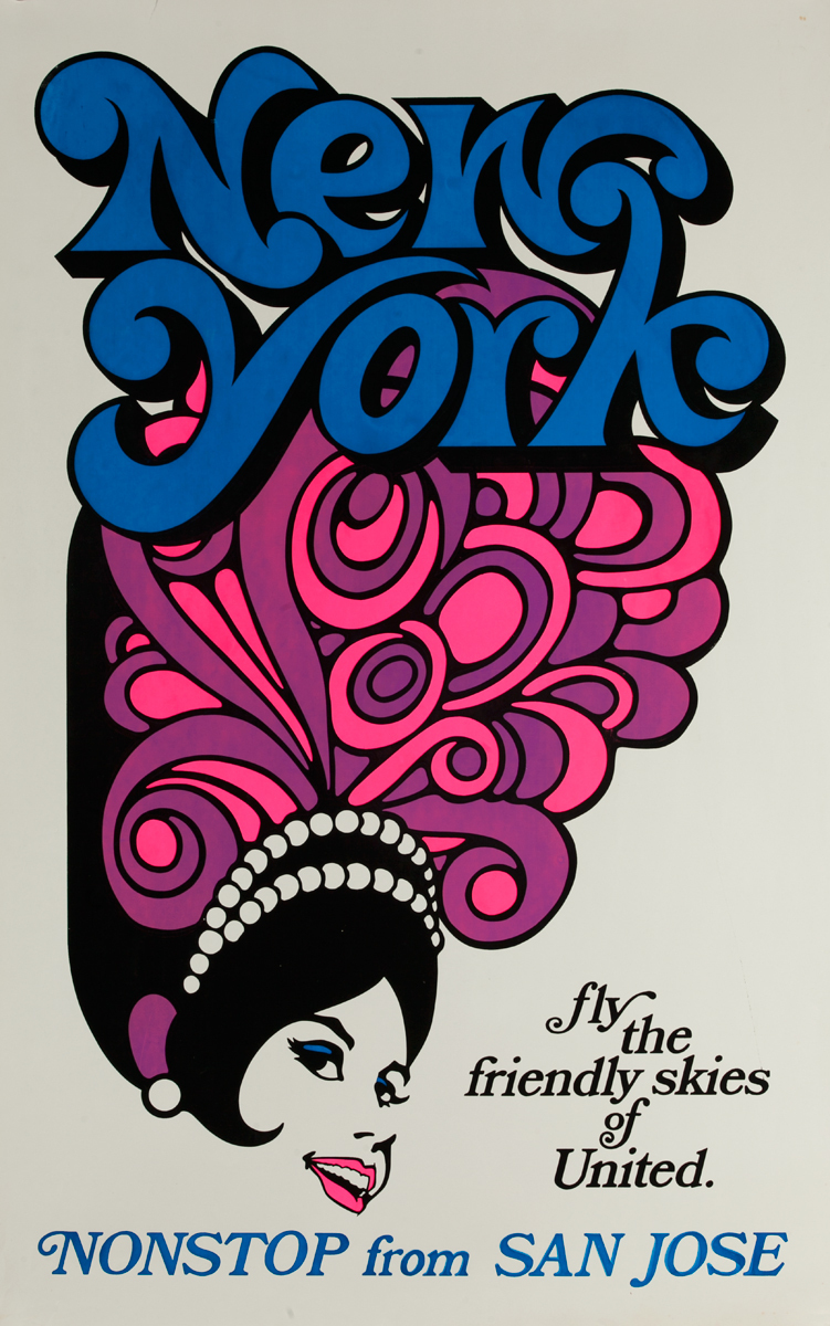 United Air Lines New York, Fly the Friendly Skies Radio City Music Hall Rockette, Original Travel Poster