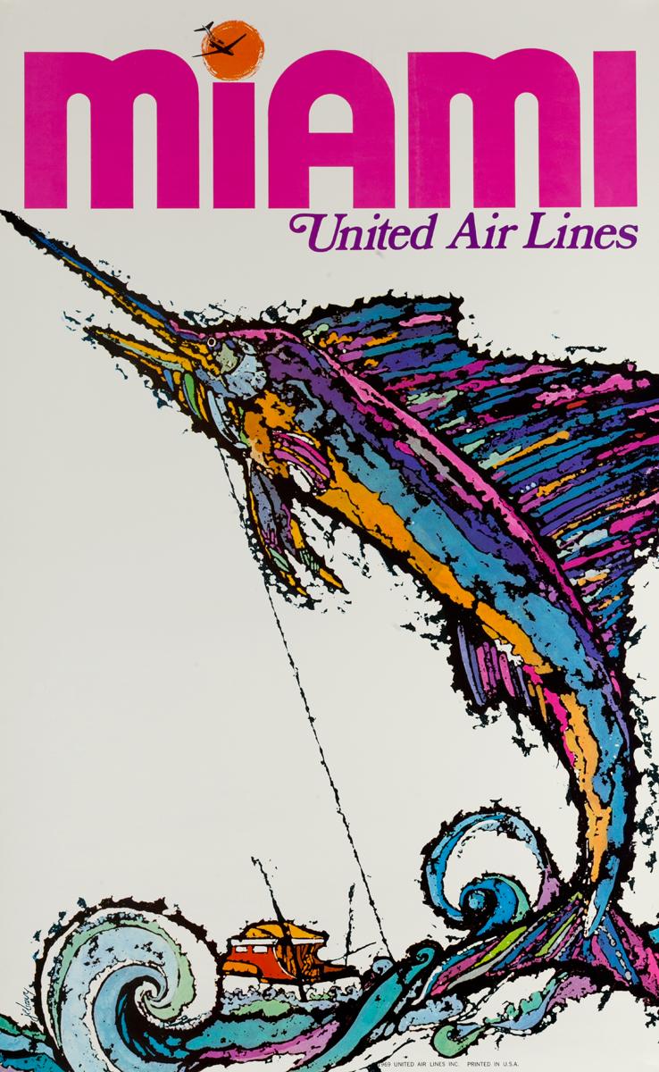United Airlines Miami Original Travel Poster Swordfish