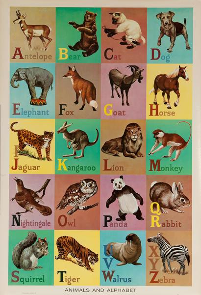 Original Educational Poster Alphabet
