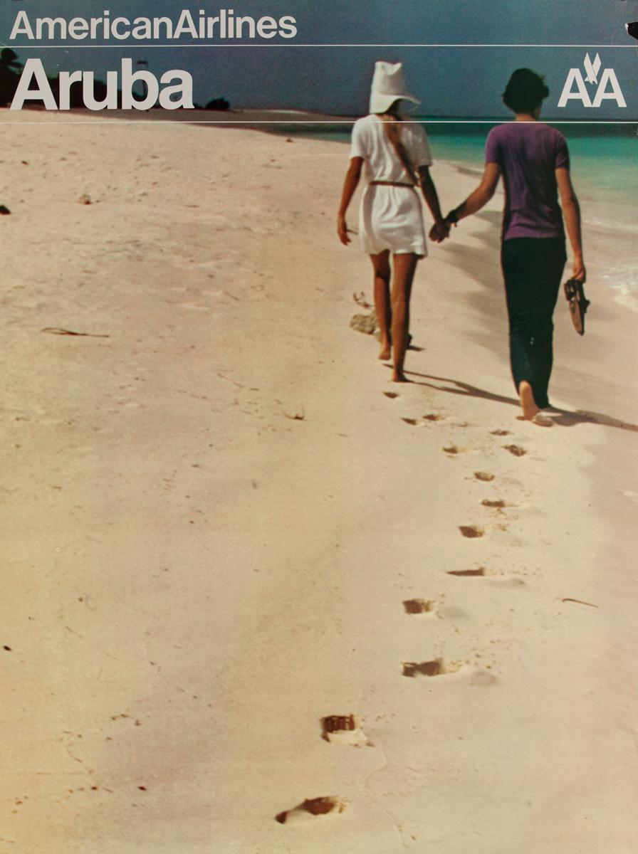 American Airlines Aruba Original Travel Poster, Beach