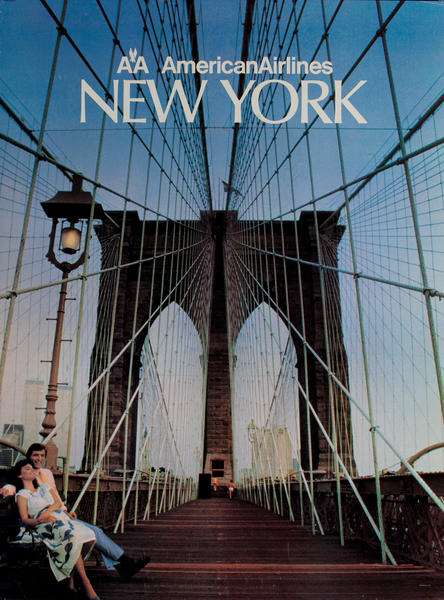 American Airlines New York Original Travel Poster, Brooklyn Bridge