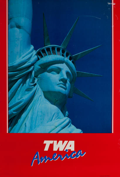 TWA America, Original Travel Poster, Statue of Liberty Photo