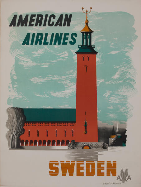 Original American Airlines Travel Poster Sweden