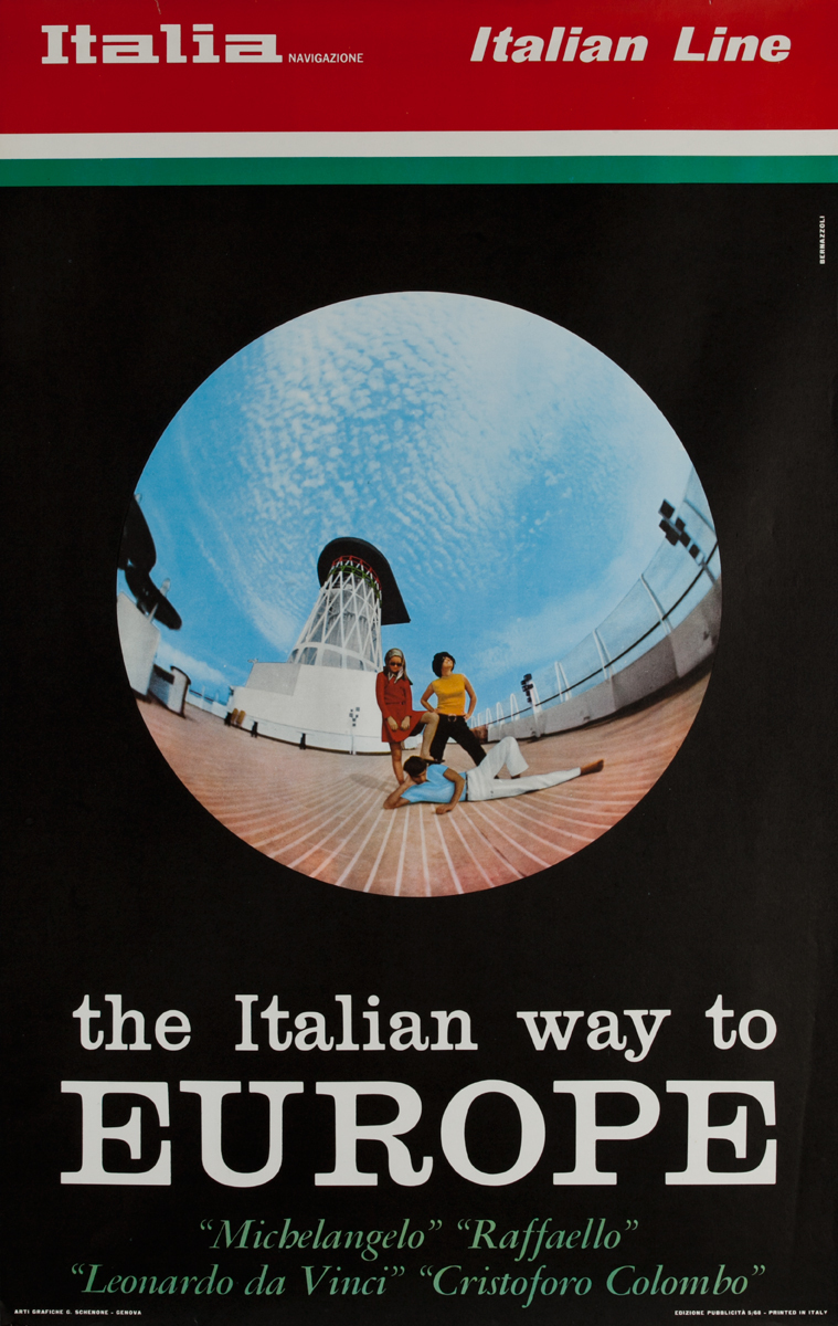 Italian Line, The Italian Way to Europe Original Cruise Line Poster