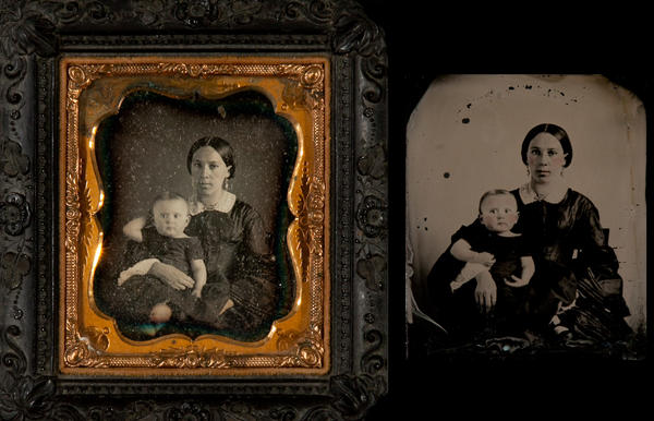1/6th Plate Daguerreotype Mothe and Child WIth 1/6th Plate Ambrotype of Same Mother and Child