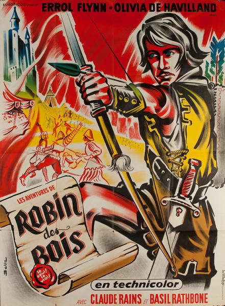 The Adventures of Robin Hood, Original French re-Release Movie Poster
