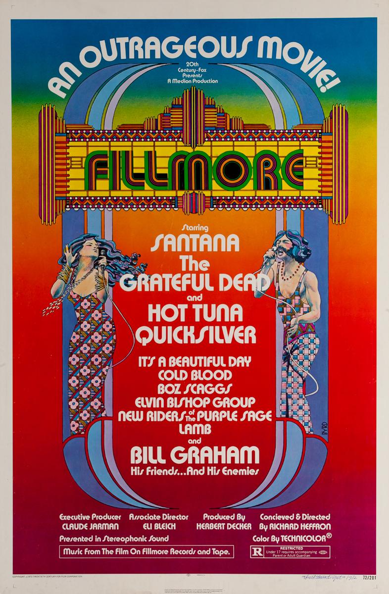 Fillmore an Outrageous Movie! Starring Santana, The Grateful Dead and Hot Tuna Quicksilver, Original 1 Sheet Movie Poster
