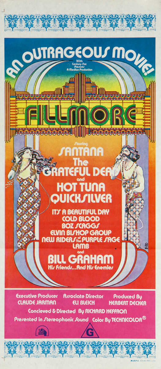Fillmore an Outrageous Movie! Starring Santana, The Grateful Dead and Hot Tuna Quicksilver, Original Insert Movie Poster