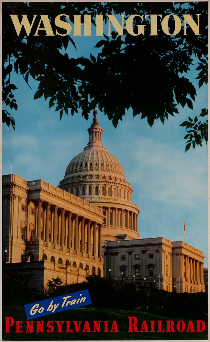 Washington Go by Train, Pennsylvania Railroad Original Travel Poster, Capitol Building photo