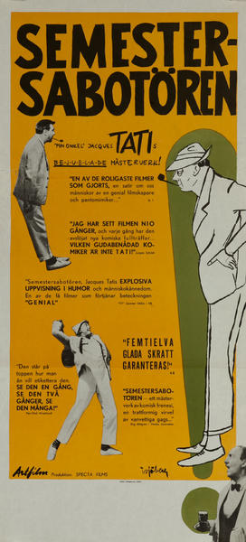 Semestersabotören, Mr Hulot's Holiday Original Swedish Movie Poster