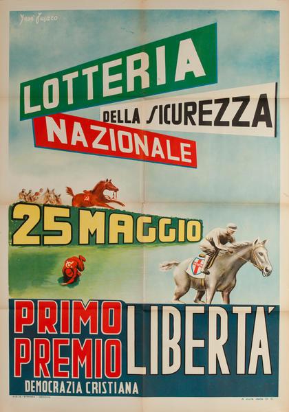 Lotteria Della Sicurezza Nazionale, Original Christian Democratic Party, Democrazia Cristiana Italian Political Poster