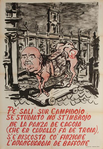Original Italian anti-Communist Political Poster, Trojan Politican