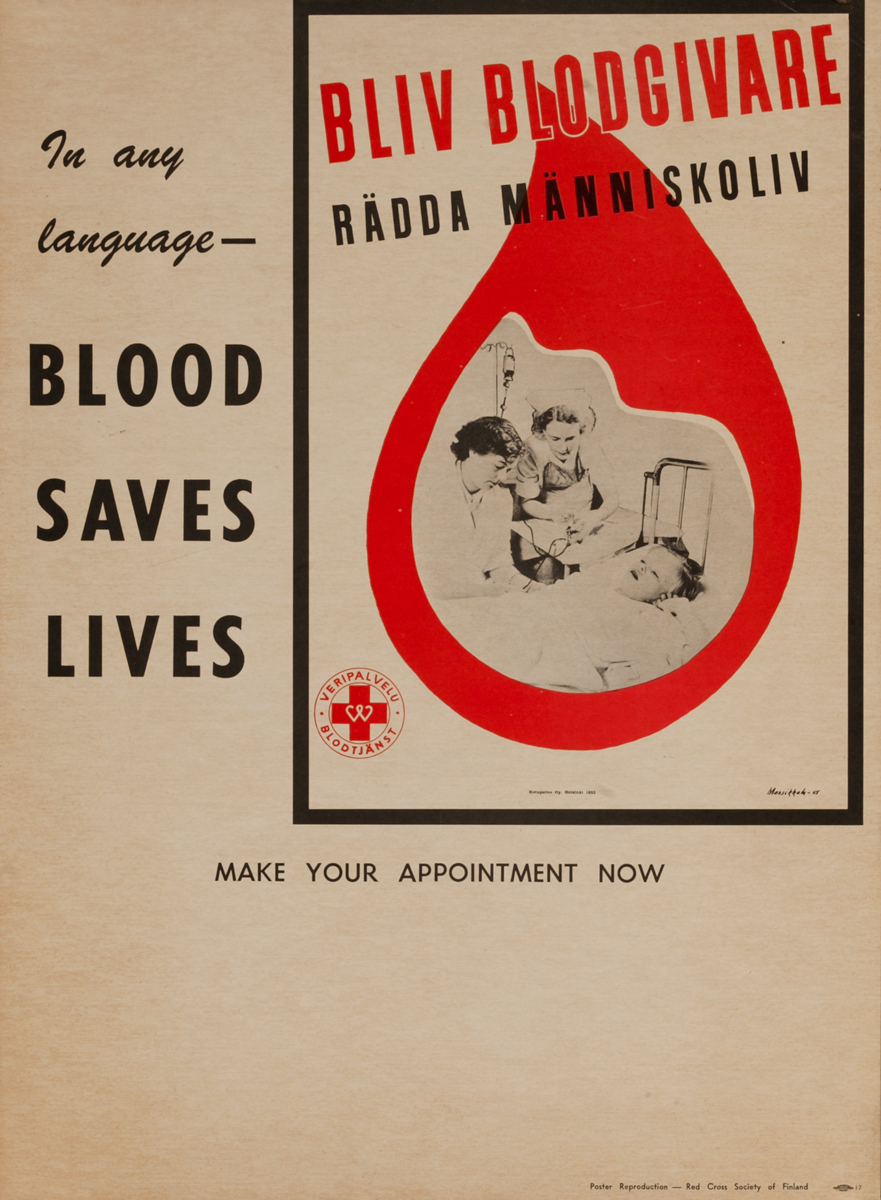 Blood Saves Lives Original Red Cross Poster