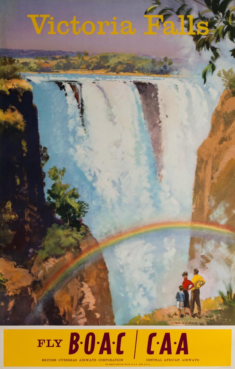 Victoria Falls Fly BOAC CAA, Original Travel Poster