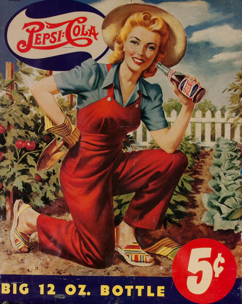 Pepsi Cola Big 12 Oz. Bottle Original Advertising Poster