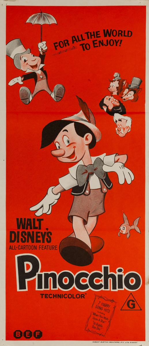 Pinocchio Original Australian Insert Movie Poster