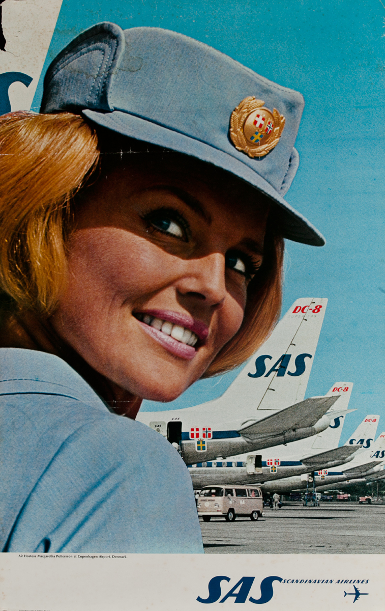 SAS Original Travel Poster Stewardess
