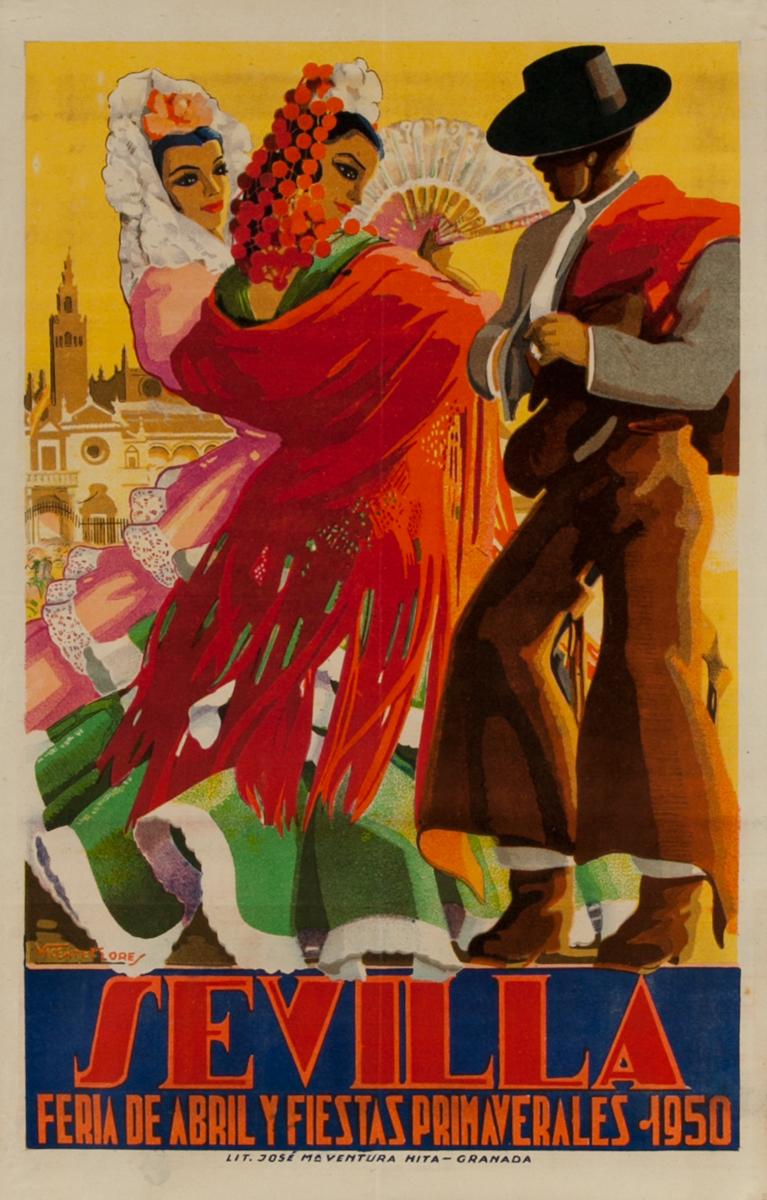Sevilla Feria de Abril Y Fiestas Primaverales Original Travel Poster