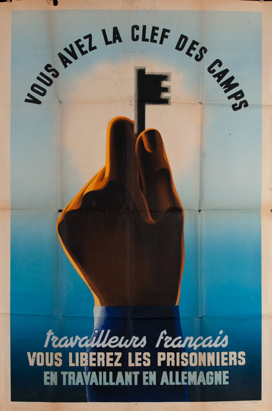 Vous Avez la Clef des Camps, You Hold the Key to the Camps, Original Viichy France WWII Poster
