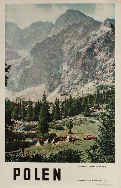 Polen, Tatragebirge - Camping am Rybi Potok, Original Polish Travel Poster