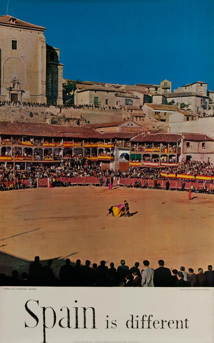 Spain is Different Original Spanish Travel Poster Toros en Chinchon, Madrid
