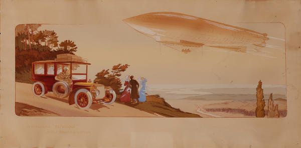 Le Dirigeable Republique, Moteur Panhard & Levassor, Original Hand Colored Pochoir Sports Print