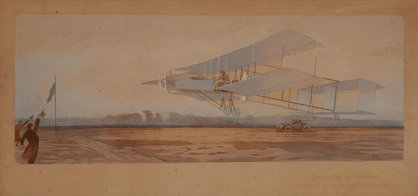 Grand Prix de l'Aviation, Henri Farman Bouche les 1000m Sur Son Aeroplane,  Original Hand Colored Pochoir Sports Print