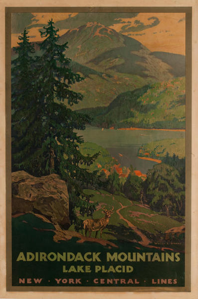 Adirondack Mountains Lake Placid, Original New York Central Lines Rail Poster