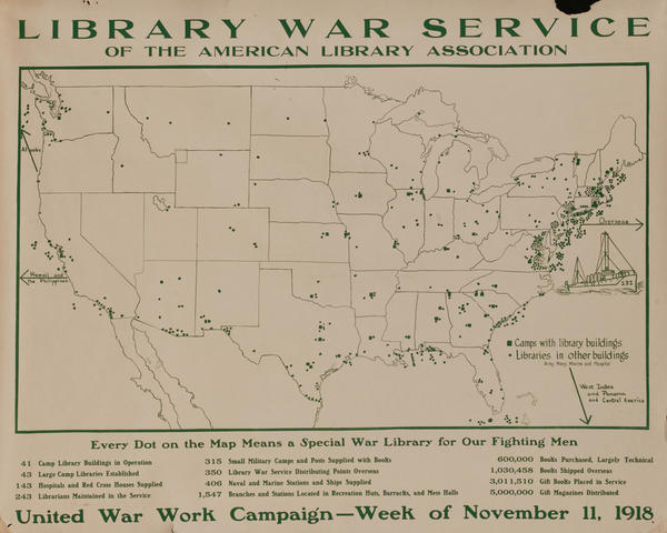 Library War Service, Original WWI American Library Association Poster
